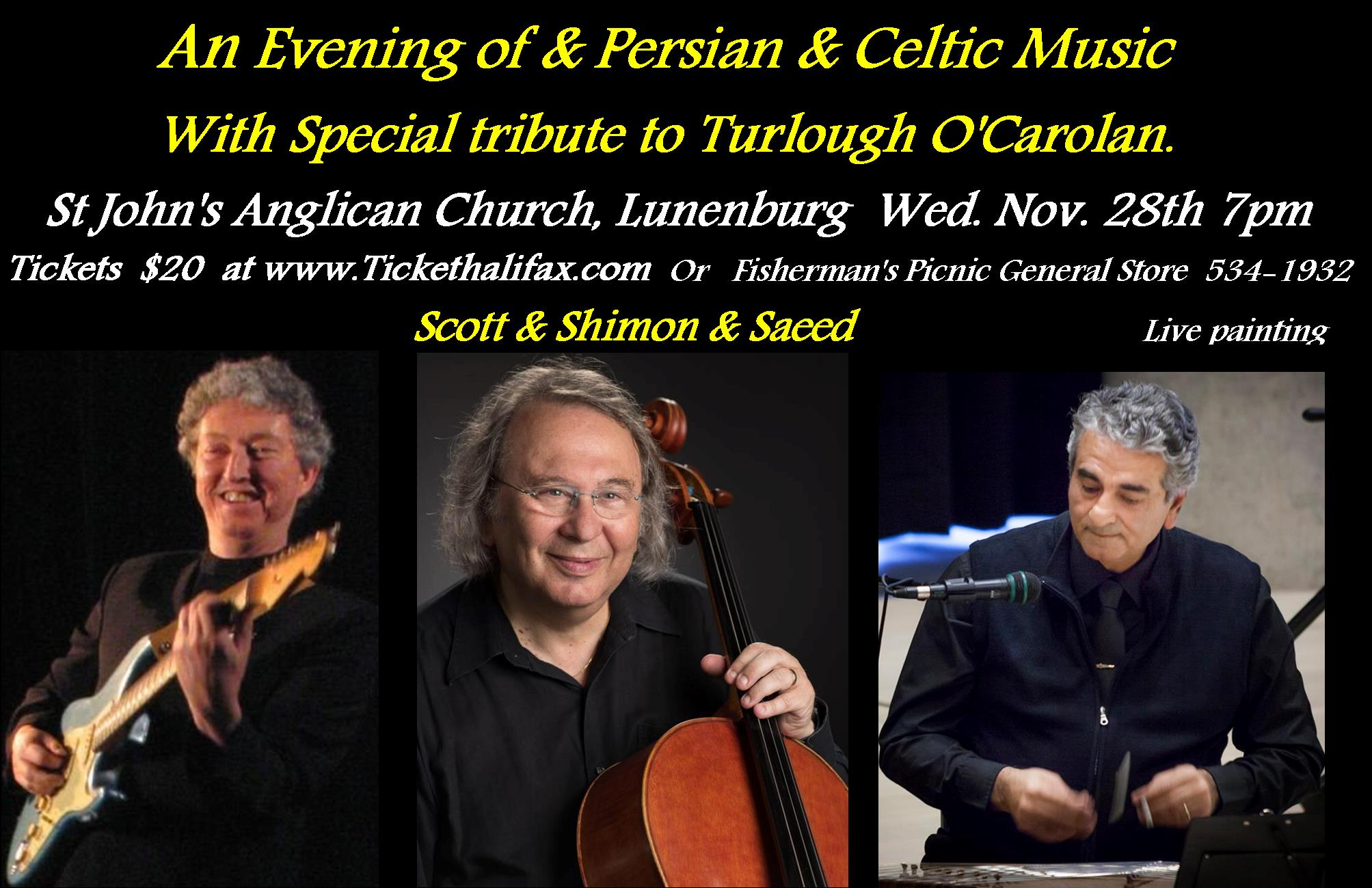 Saeed & Shimon in Concert Tickets | St  John's Anglican Church | Lunenburg,  NS | Wed, Nov 28, 2018 at 7pm | Ticket Halifax